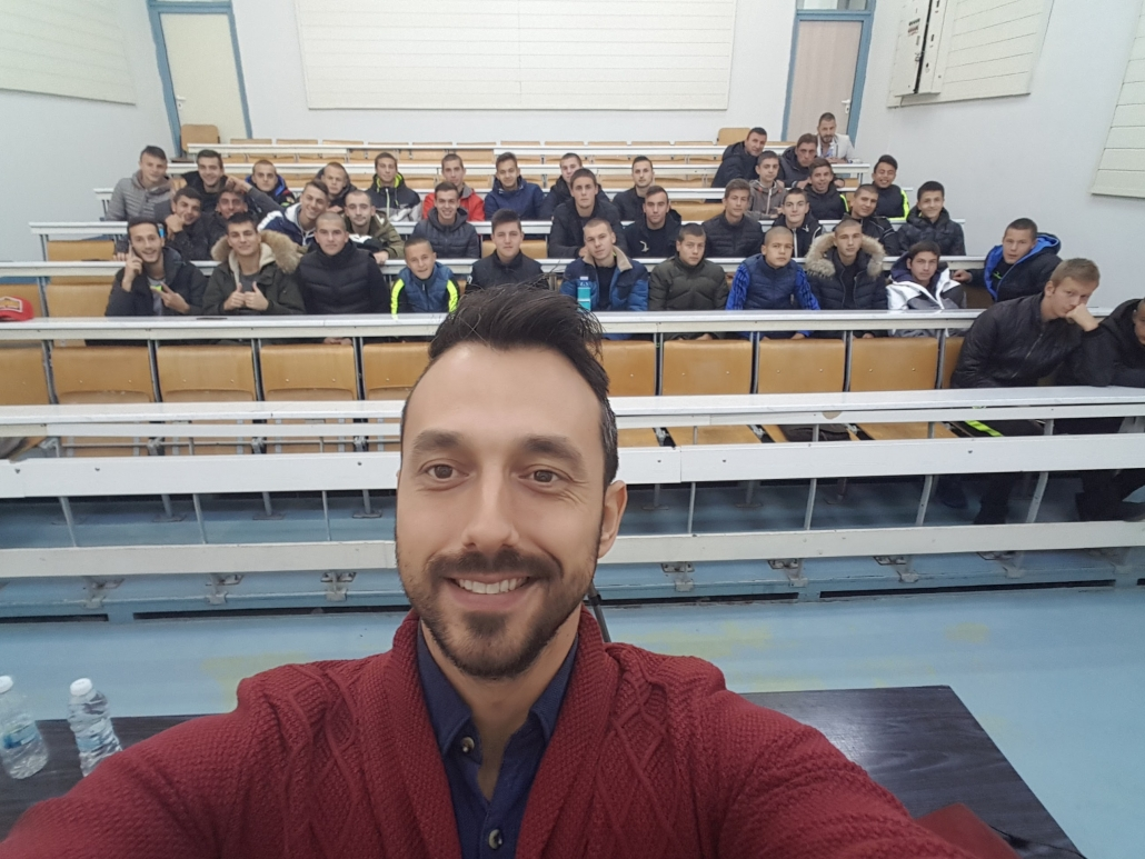 Georgi Zahariev after giving a lecture in front of young players